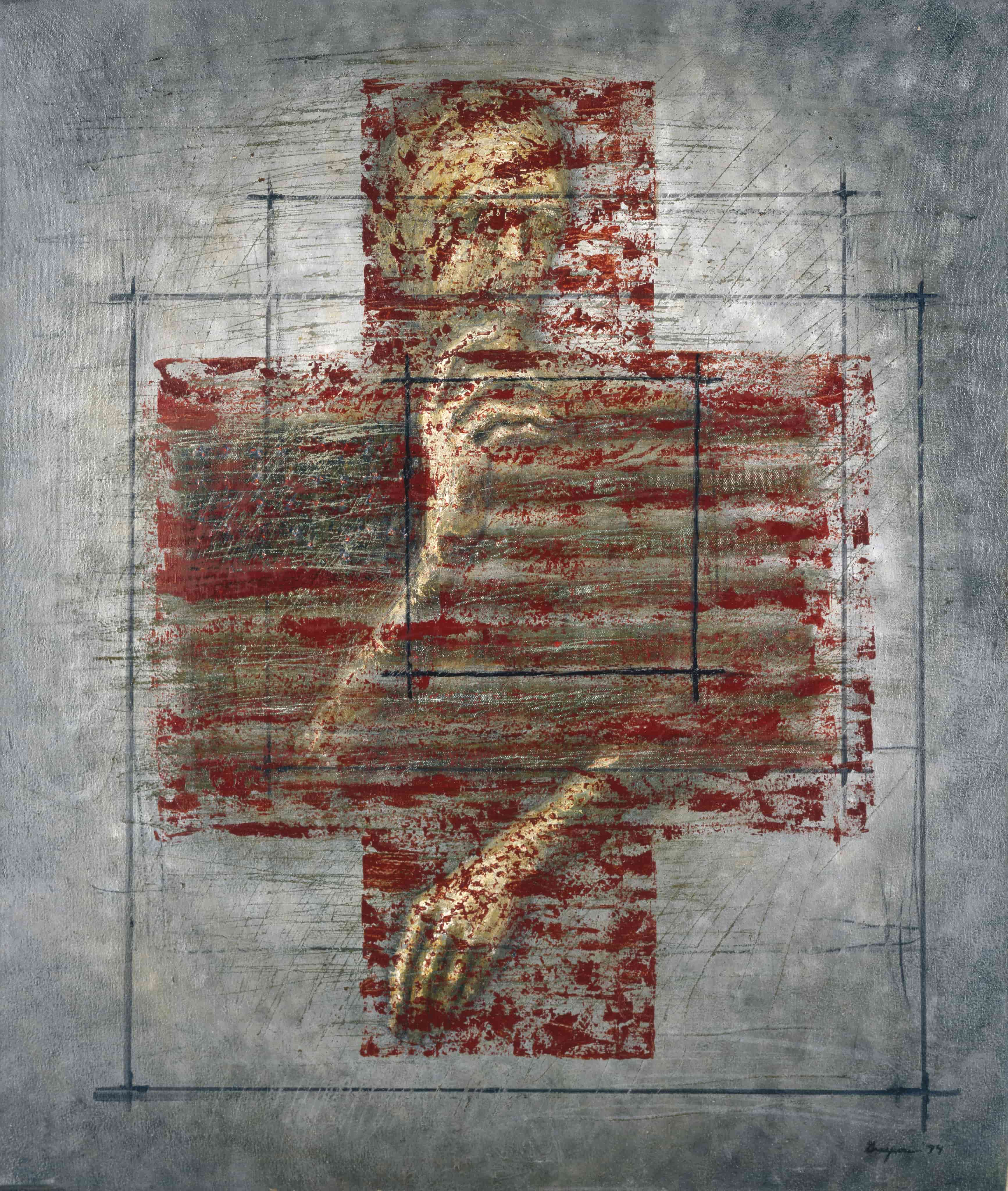 Man in Flag, 1994, oil on canvas, 44x34 in. <br>  Collection of Bekah Jenkins & Cory Bond