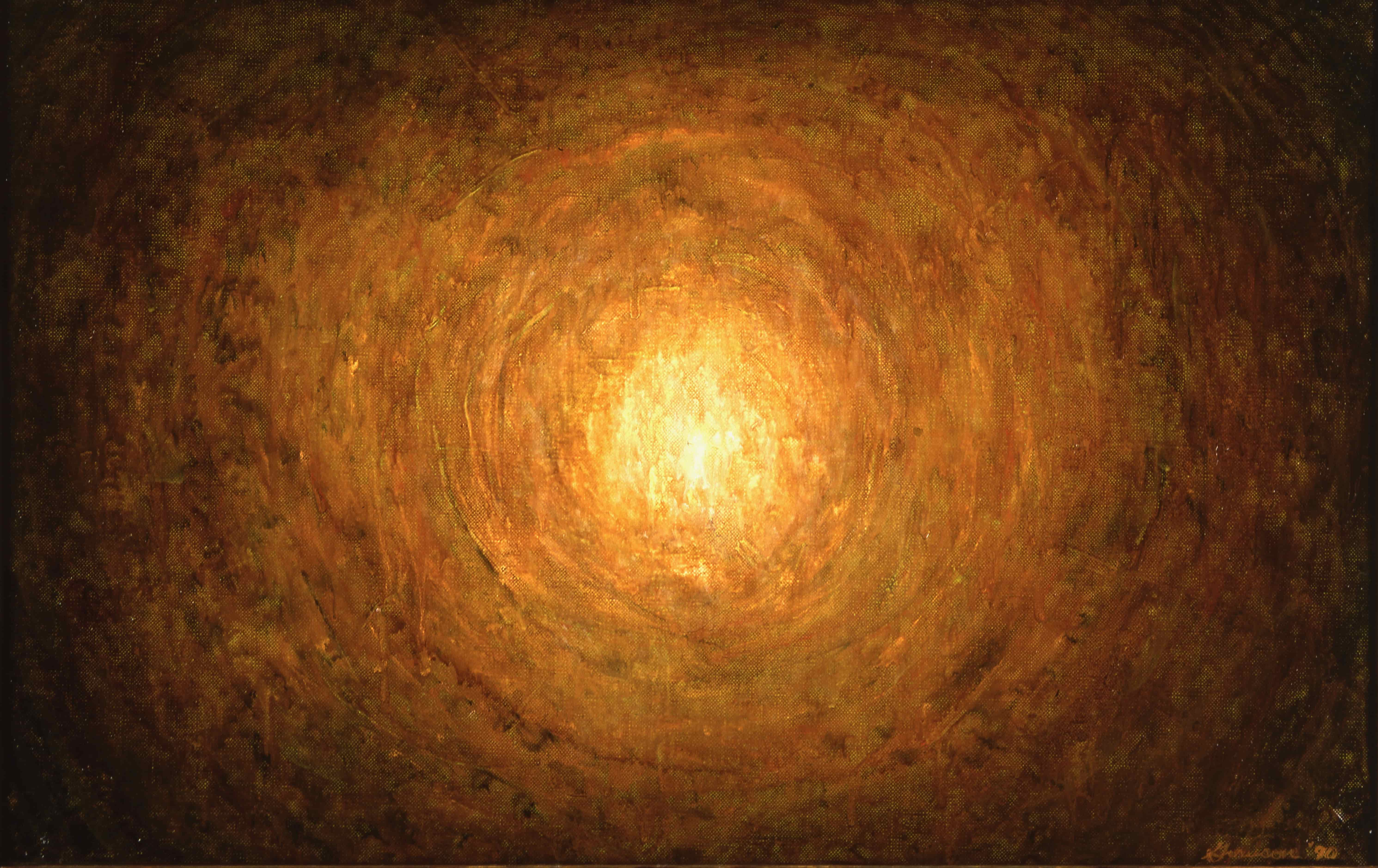 On Stage, 1990, oil on canvas, 15x30 in. <br> The Artist's collection