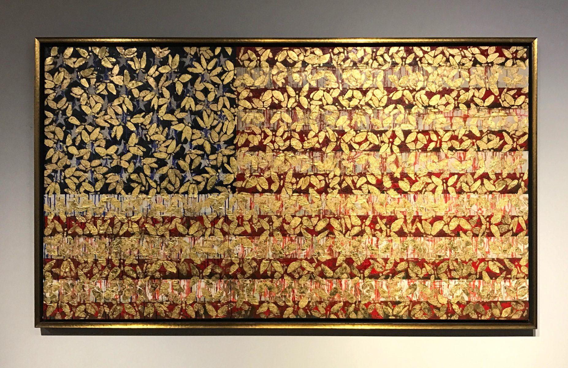 Portrait of Amerca 2017 (Industrial Melanism), 24 Karat Gold, oil on canvas, 44x78 in. <br> Courtesy of Eykyn Maclean